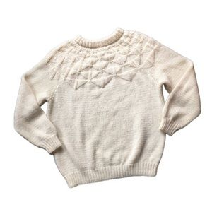2X Vintage Hand-Knit Soft White Fair Isle Sweater